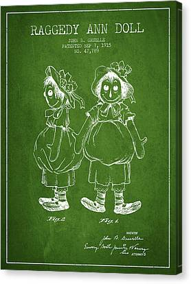 Raggedy Ann Doll Patent From 1915 - Green Canvas Print by Aged Pixel
