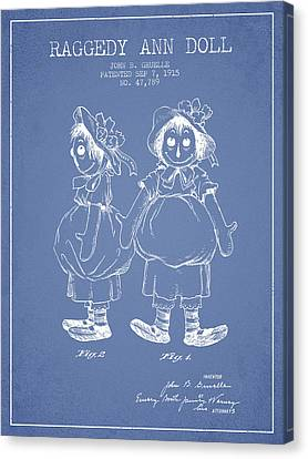 Raggedy Ann Doll Patent From 1915 - Light Blue Canvas Print by Aged Pixel