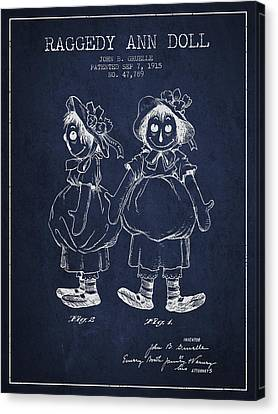 Raggedy Ann Doll Patent From 1915 - Navy Blue Canvas Print by Aged Pixel