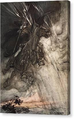 Raging, Wotan Rides To The Rock! Like Canvas Print by Arthur Rackham