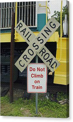 Rail Road Crossing Canvas Print by Laurie Perry