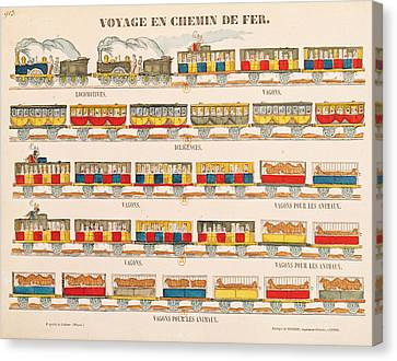 Rail Travel In 1845  Canvas Print by French School