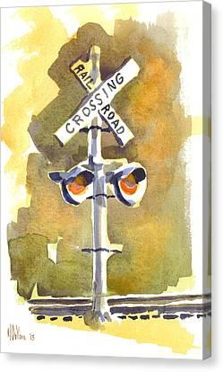Railroad Crossing In Arcadia Canvas Print by Kip DeVore