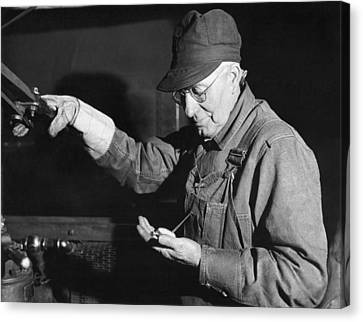 Railroad Engineer Checks Watch Canvas Print by Underwood Archives