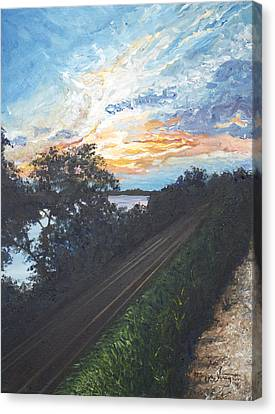 Rails Along The River Canvas Print by Monica Veraguth