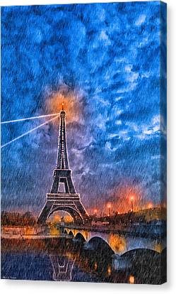 Rain Falling On The Eiffel Tower At Night In Paris Canvas Print by Mark E Tisdale