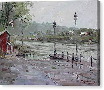 Rain In Lewiston Waterfront Canvas Print by Ylli Haruni