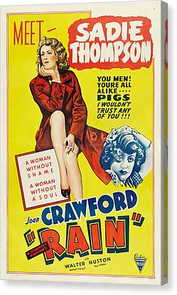 Rain, Joan Crawford On Poster Art, 1932 Canvas Print by Everett