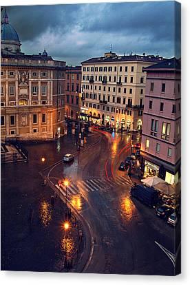 Rain Night In Rome Canvas Print by Patrick Horgan