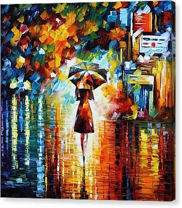 Rain Princess - Palette Knife Figure Oil Painting On Canvas By Leonid Afremov Canvas Print by Leonid Afremov
