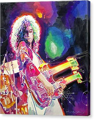 Rain Song Jimmy Page Canvas Print by David Lloyd Glover