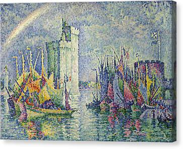 Rainbow At The Port Of La Rochelle Canvas Print by Paul Signac