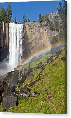 Rainbow At Vernal Falls Yosemite National Park Canvas Print by Natural Focal Point Photography