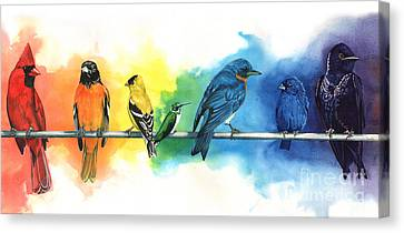 Rainbow Birds Canvas Print by Antony Galbraith