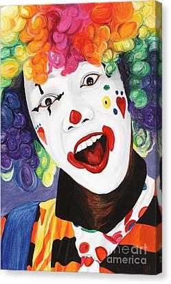 Rainbow Clown Canvas Print by Patty Vicknair