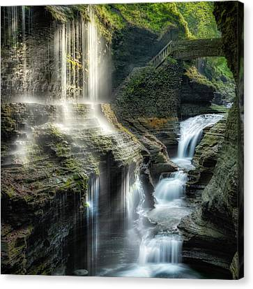 Rainbow Falls Square Canvas Print by Bill Wakeley