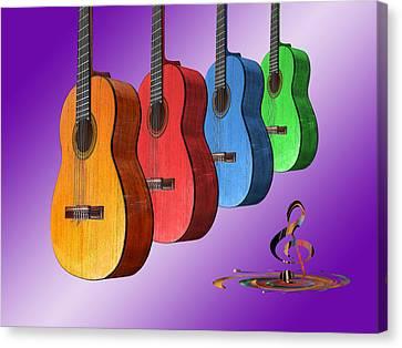 Rainbow Fantasia On Guitars Canvas Print by Gill Billington