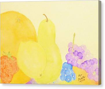 Rainbow Fruits And The Floating Lemon Canvas Print by Ann Michelle Swadener