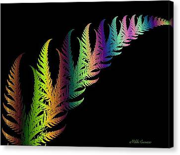 Rainbow Leaves Fractals Canvas Print by Mikki Cucuzzo