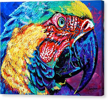 Rainbow Macaw Canvas Print by Maria Arango