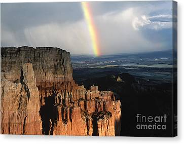 Rainbow Over  Bryce Canyon Canvas Print by Sandra Bronstein