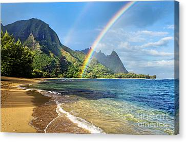 Rainbow Over Haena Beach Canvas Print by M Swiet Productions