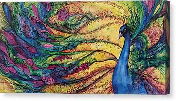 Rainbow Peacock Canvas Print by Christy  Freeman
