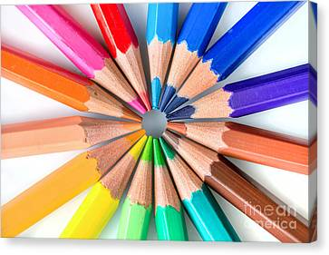 Rainbow Pencils Canvas Print by Delphimages Photo Creations