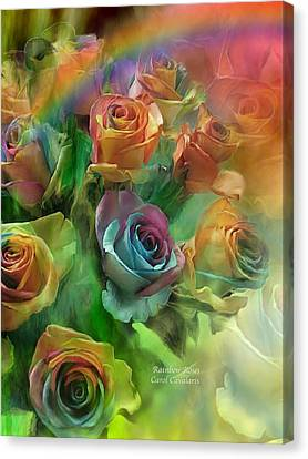 Rainbow Roses Canvas Print by Carol Cavalaris