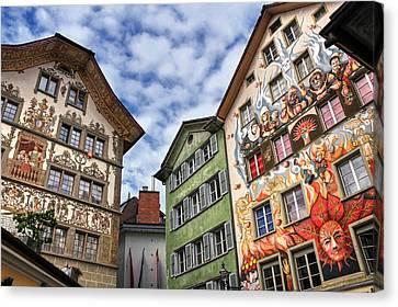 Rainbow Corner  Lucerne Canvas Print by Carol Japp