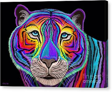 Rainbow Tiger Canvas Print by Nick Gustafson