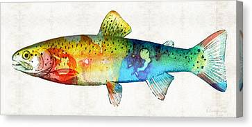 Rainbow Trout Art By Sharon Cummings Canvas Print by Sharon Cummings