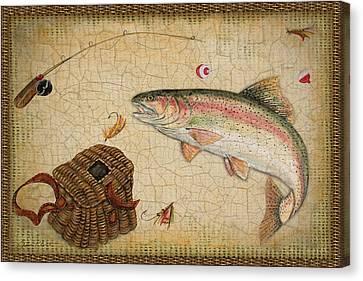 Rainbow Trout-basket Weave Canvas Print by Jean Plout