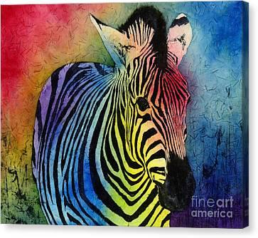 Rainbow Zebra Canvas Print by Hailey E Herrera