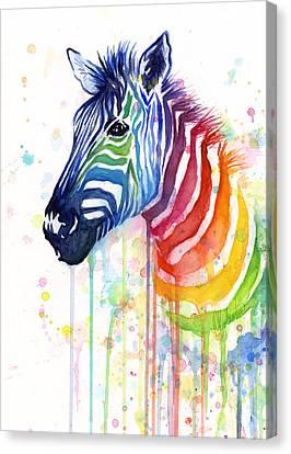 Rainbow Zebra - Ode To Fruit Stripes Canvas Print by Olga Shvartsur