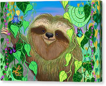 Rainforest Sloth Canvas Print by Nick Gustafson