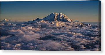 Rainier Hood Adams And St Helens From The Air Canvas Print by Mike Reid