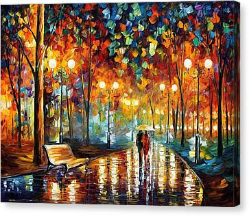 Rain's Rustle 2 - Palette Knife Oil Painting On Canvas By Leonid Afremov Canvas Print by Leonid Afremov
