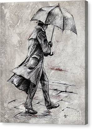Rainy Day #07 Drawing Canvas Print by Emerico Imre Toth