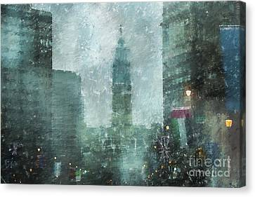 Rainy Day In Philadelphia  Canvas Print by Diane Diederich