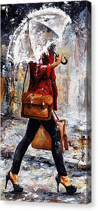 Rainy Day - Woman Of New York 17 Canvas Print by Emerico Imre Toth