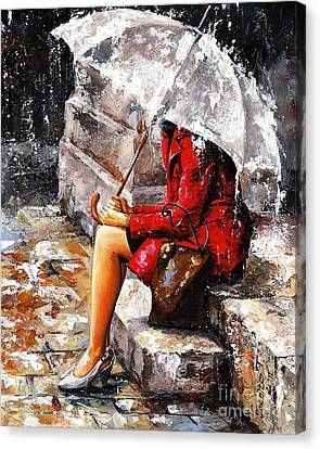 Rainy Day - Woman Of New York Canvas Print by Emerico Imre Toth
