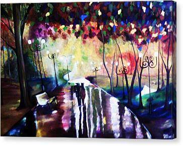 Rainy Park Canvas Print by Vickie Meza