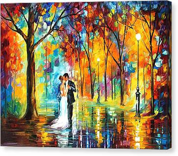 Rainy Wedding - Palette Knife Oil Painting On Canvas By Leonid Afremov Canvas Print by Leonid Afremov