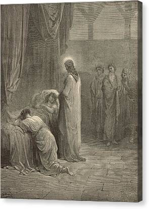 Raising The Daughter Of Jairus Canvas Print by Antique Engravings