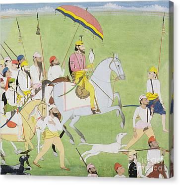 Rajah Dhian Singh Hunting Canvas Print by Indian School