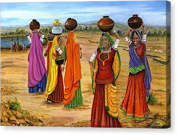 Rajasthani  Women Going Towards A Pond To Fetch Water Canvas Print by Vidyut Singhal