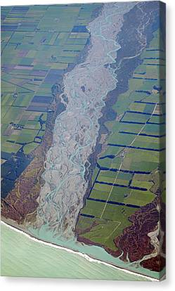 Rakaia River, And Canterbury Plains Canvas Print by David Wall