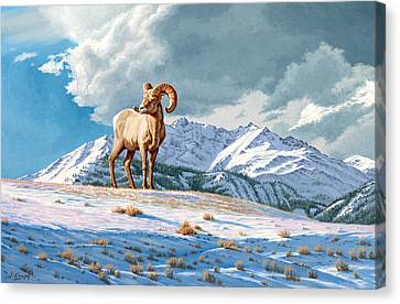 Ram And Electric Peak Canvas Print by Paul Krapf