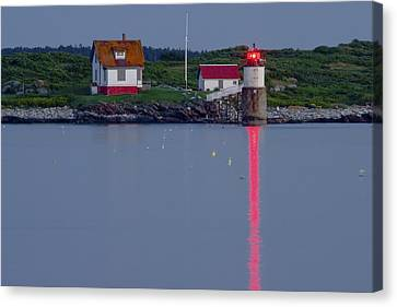 Ram Island Lighthouse At Night Maine  Canvas Print by Keith Webber Jr